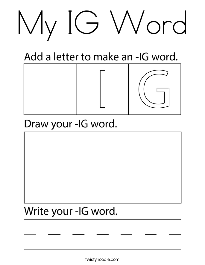 My IG Word Coloring Page