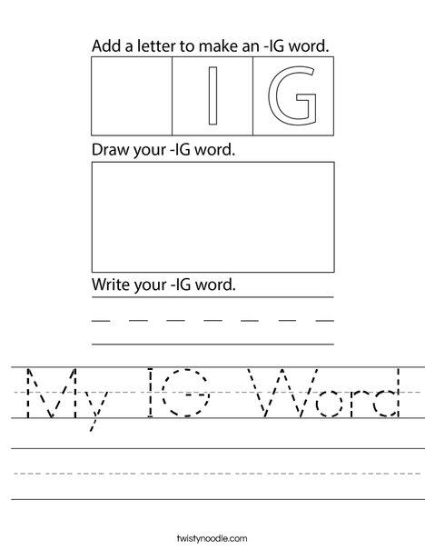 My IG Word Worksheet