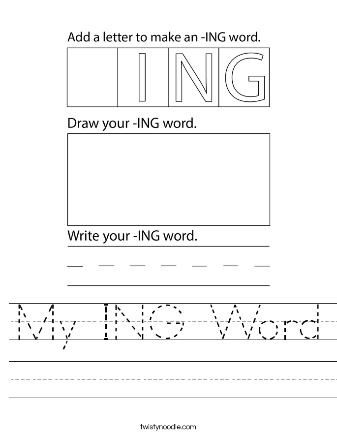 My ING Word Worksheet