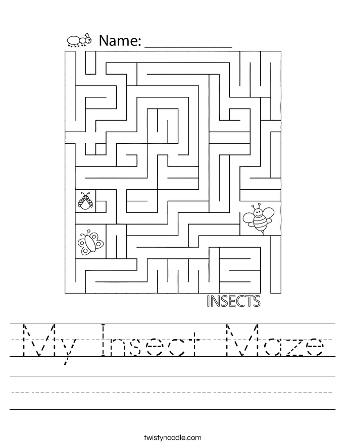 My Insect Maze Worksheet