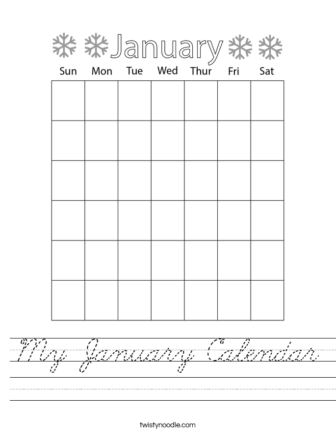 My January Calendar Worksheet