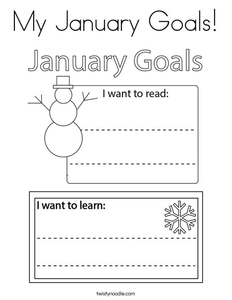 My January Goals! Coloring Page