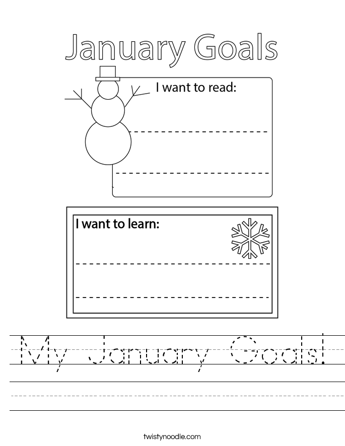 My January Goals! Worksheet