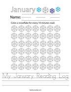 My January Reading Log Handwriting Sheet