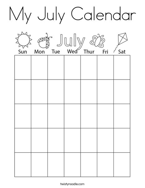 My July Calendar Coloring Page