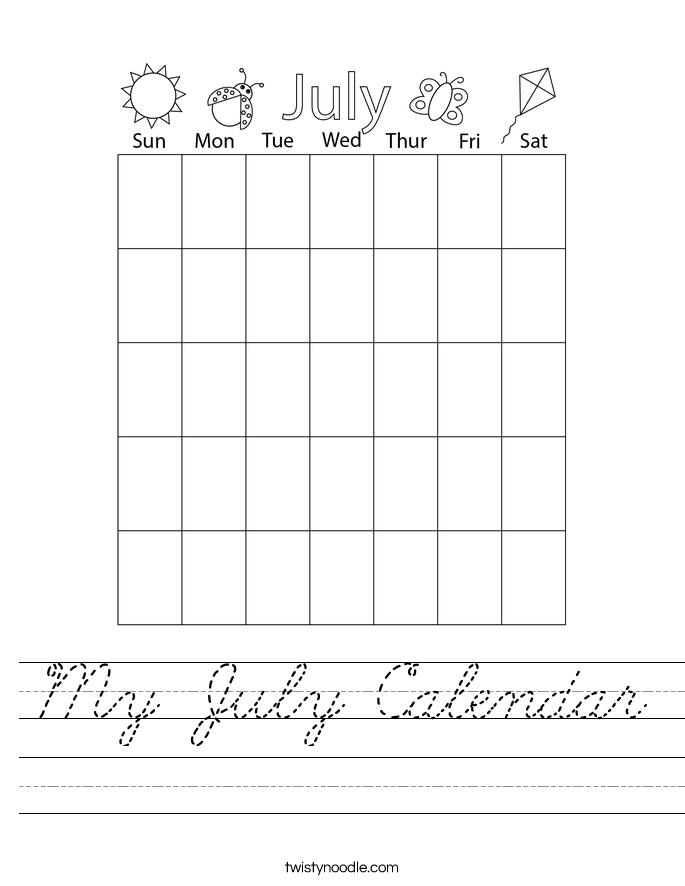 My July Calendar Worksheet