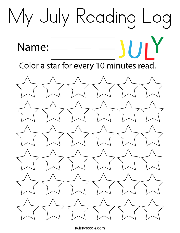My July Reading Log Coloring Page