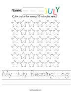 My July Reading Log Handwriting Sheet