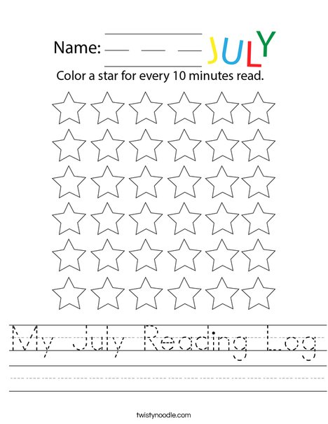 My July Reading Log Worksheet