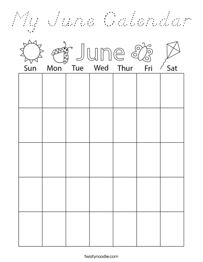 My June Calendar Coloring Page