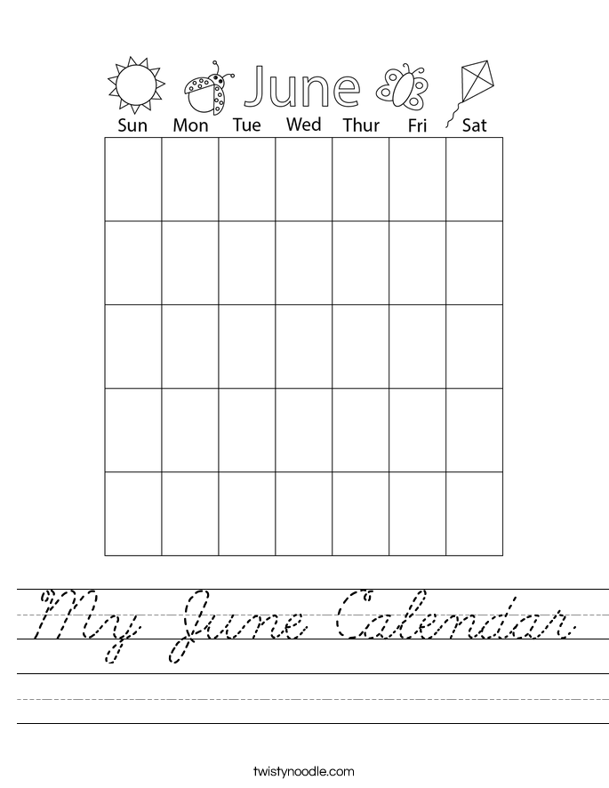 My June Calendar Worksheet