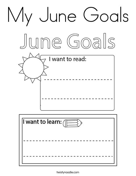 My June Goals Coloring Page