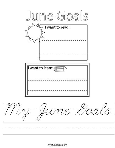 My June Goals Worksheet
