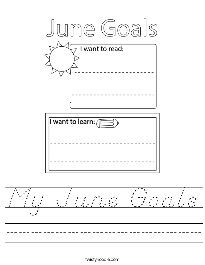 My June Goals Worksheet