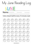 My June Reading Log Coloring Page