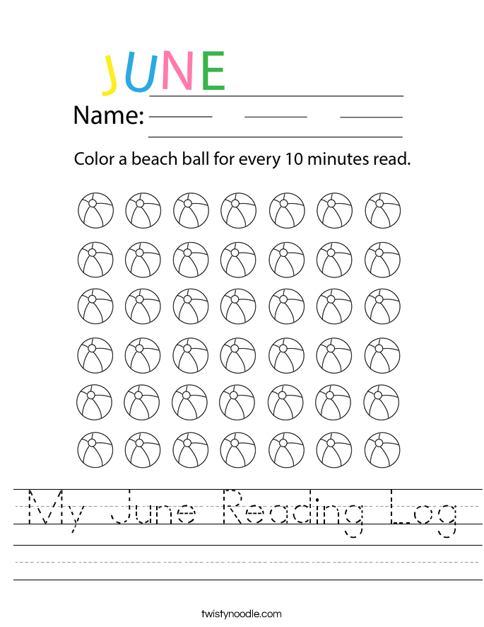 My June Reading Log Worksheet