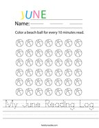 My June Reading Log Handwriting Sheet