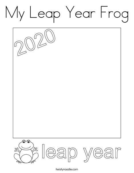 My Leap Year Frog Coloring Page