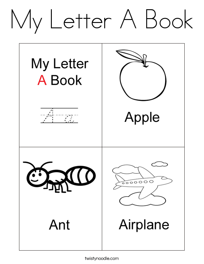 my letter a book coloring page - Letter A Coloring Pages