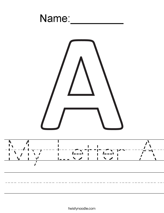 My Letter A Worksheet - Twisty Noodle