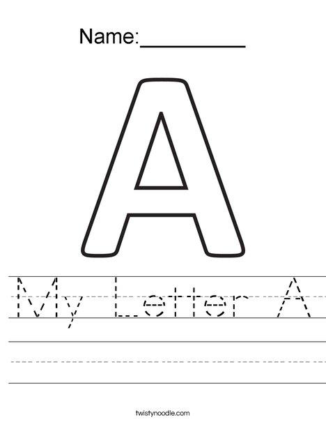 My Letter A Worksheet - Twisty Noodle