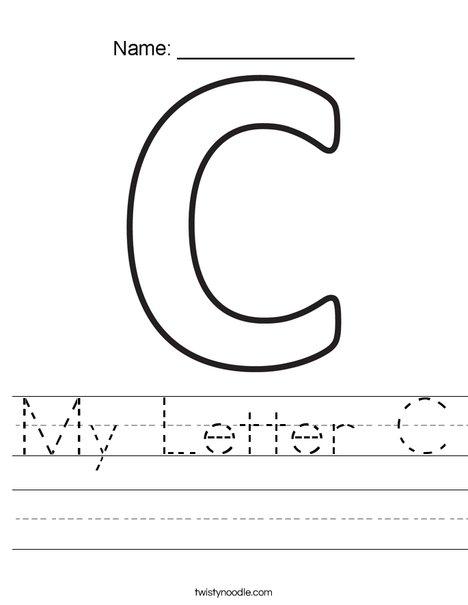 my letter c worksheet twisty noodle. Black Bedroom Furniture Sets. Home Design Ideas