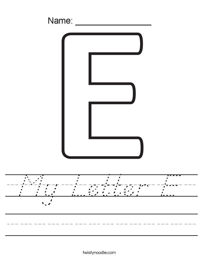 My Letter E Worksheet
