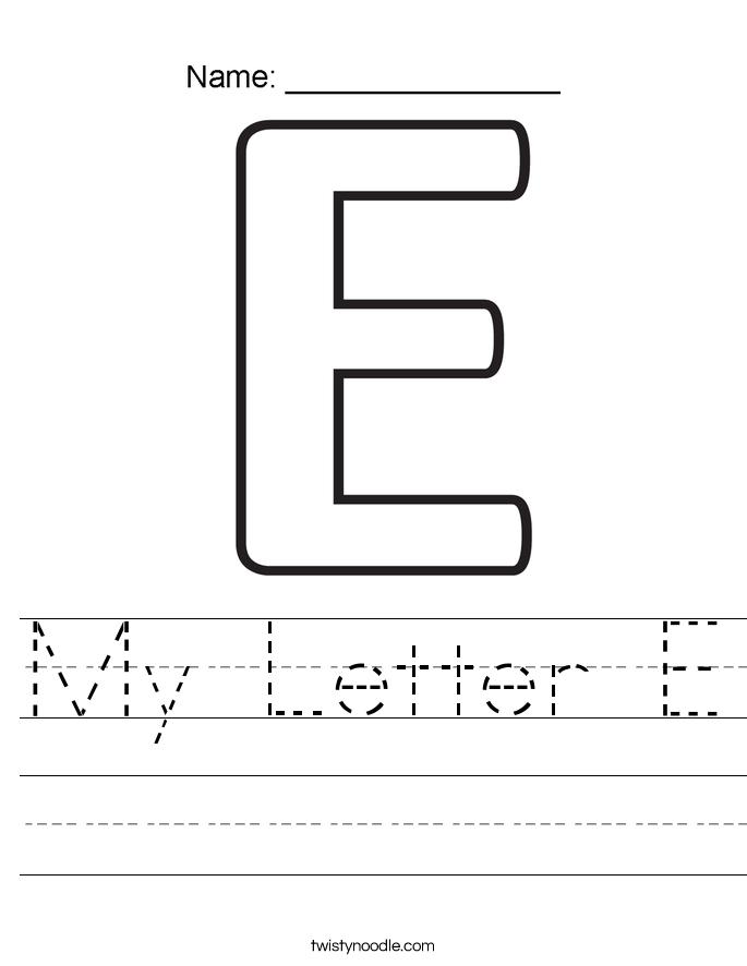 my letter e worksheet twisty noodle. Black Bedroom Furniture Sets. Home Design Ideas