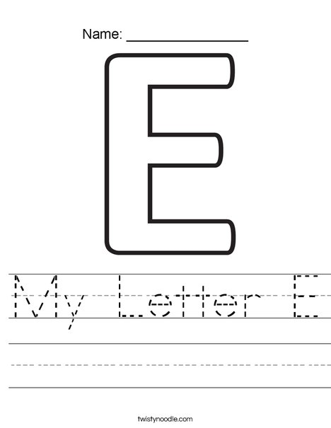 My Letter E Worksheet