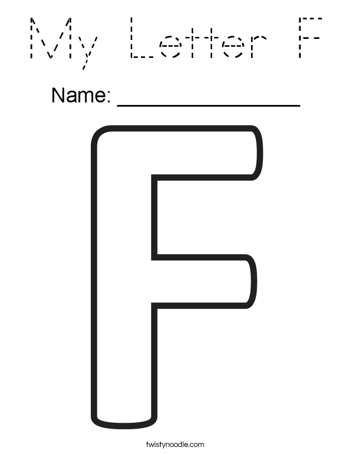 My Letter F Coloring Page Tracing