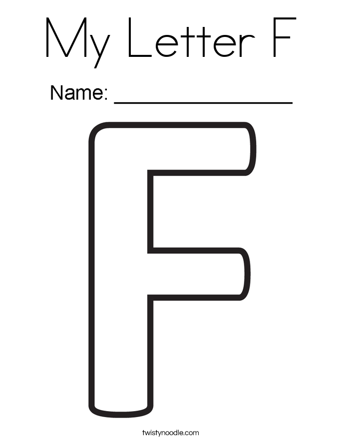 picture relating to Letter F Printable identified as My Letter F Coloring Web page Twisty Noodle - jeffersonclan