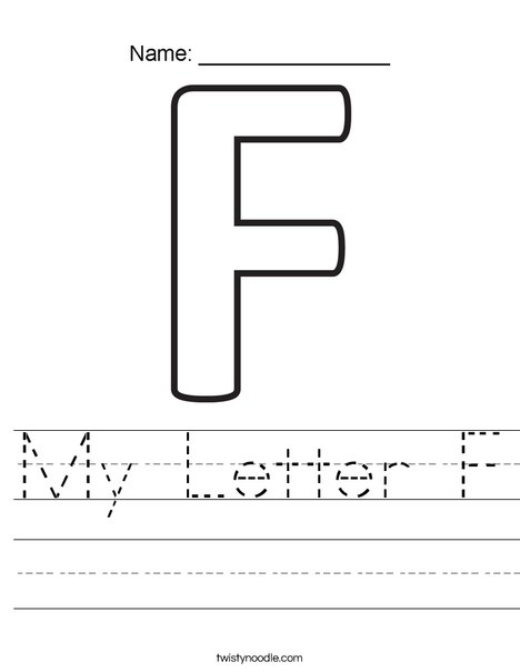My Letter F Worksheet Twisty Noodle