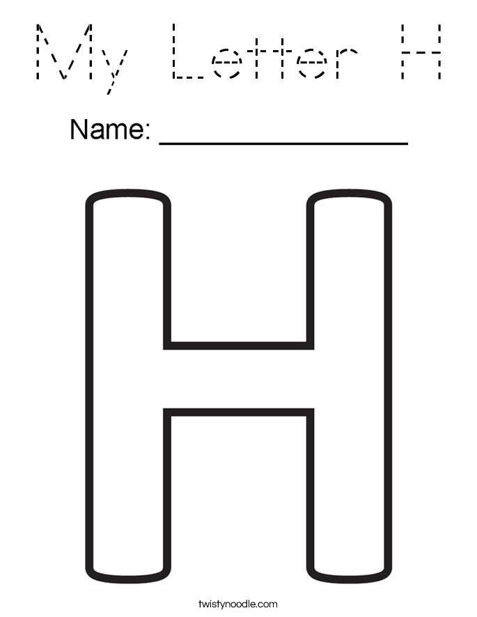 my letter h coloring page tracing twisty noodle. Black Bedroom Furniture Sets. Home Design Ideas