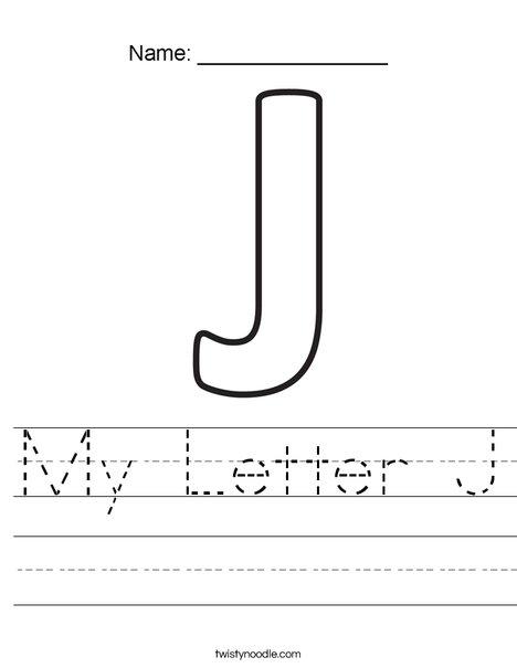 My Letter J Worksheet Twisty Noodle