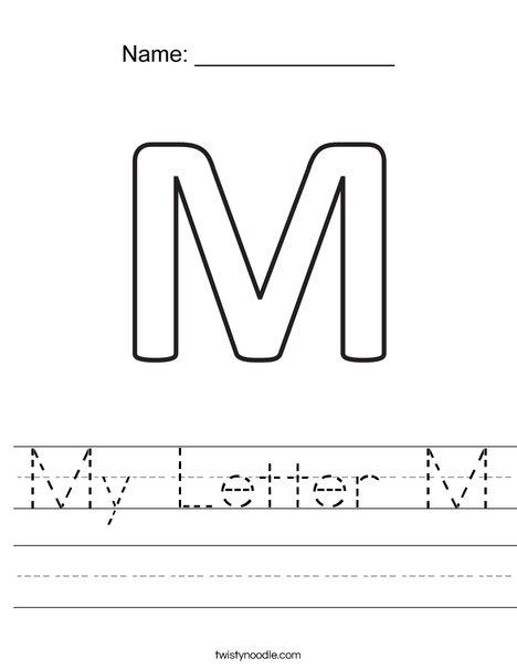 my letter m worksheet twisty noodle. Black Bedroom Furniture Sets. Home Design Ideas