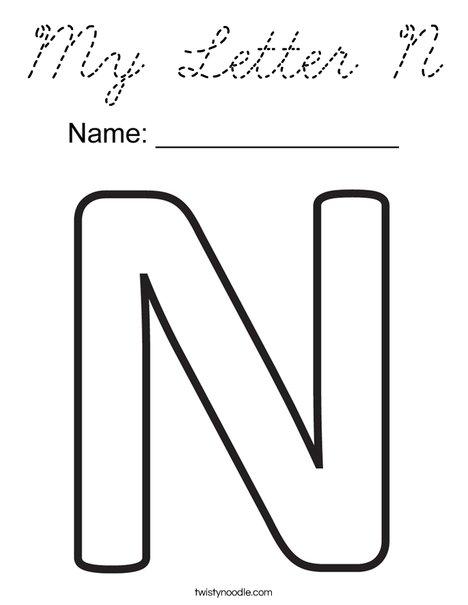 My Letter N Coloring Page - Cursive - Twisty Noodle