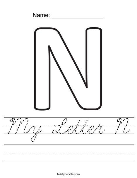 my letter n worksheet cursive twisty noodle. Black Bedroom Furniture Sets. Home Design Ideas