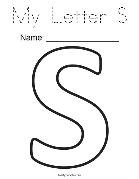 My letter s coloring page tracing twisty noodle for Twisty noodle coloring pages letters