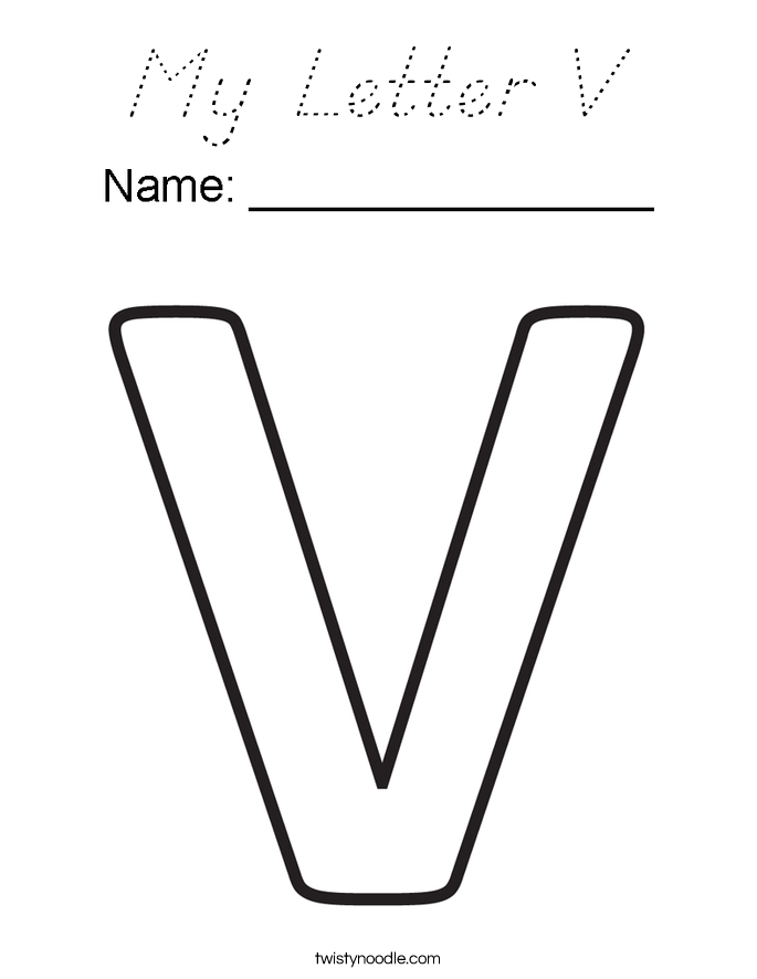 My Letter V Coloring Page