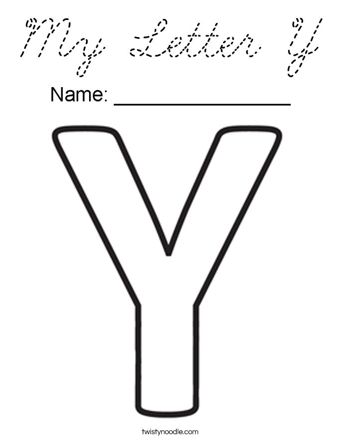 My Letter Y Coloring Page - Cursive - Twisty Noodle