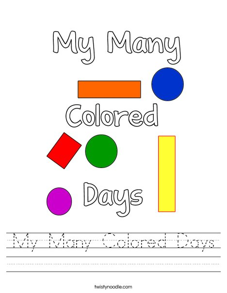 My Many Colored Days! Worksheet