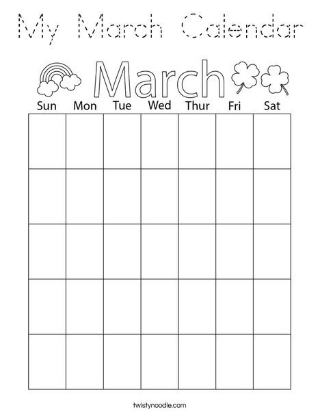 My March Calendar Coloring Page