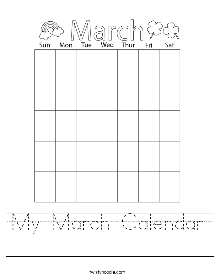 My March Calendar Worksheet