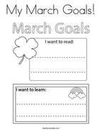 My March Goals Coloring Page