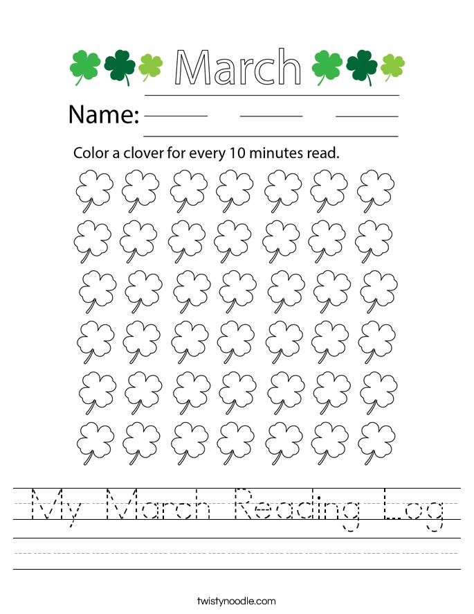 My March Reading Log Worksheet