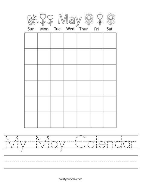 My May Calendar Worksheet