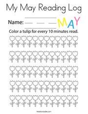 My May Reading Log Coloring Page