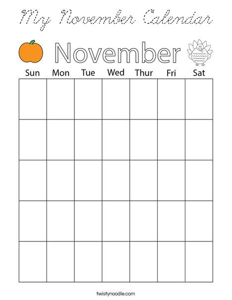 My November Calendar Coloring Page