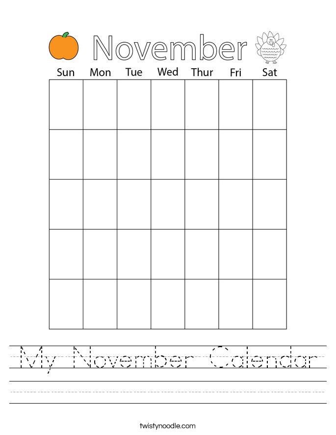 My November Calendar Worksheet