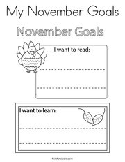 My November Goals Coloring Page